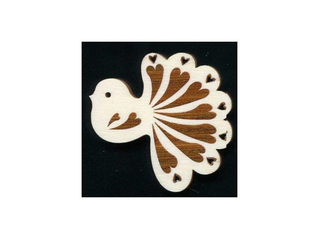 Dřevěná ozdoba s potiskem ptáček 6 cm