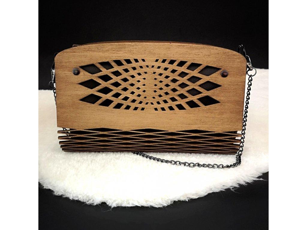 Dřevěná kabelka černá - síť 25 cm