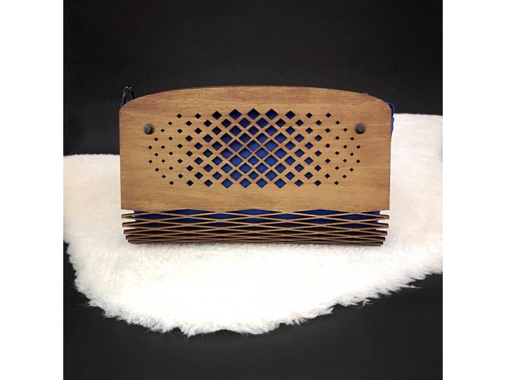 Dřevěná kabelka tmavě modrá - čtverečky, 25 cm