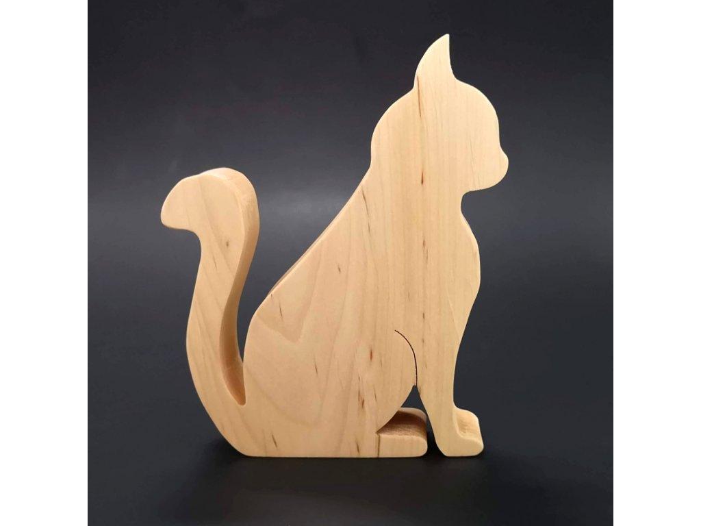 Dřevěná dekorace kočka sedící, masivní dřevo, 15x12,5x2,5