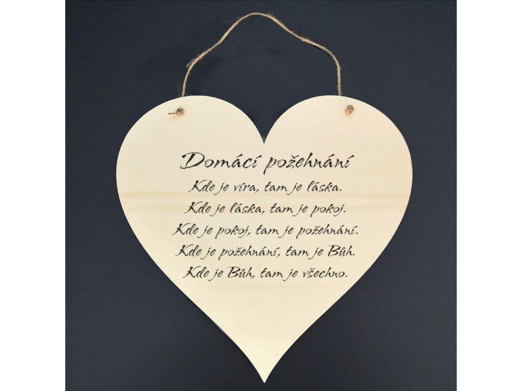 Dřevěné srdce s nápisem Domácí požehnání