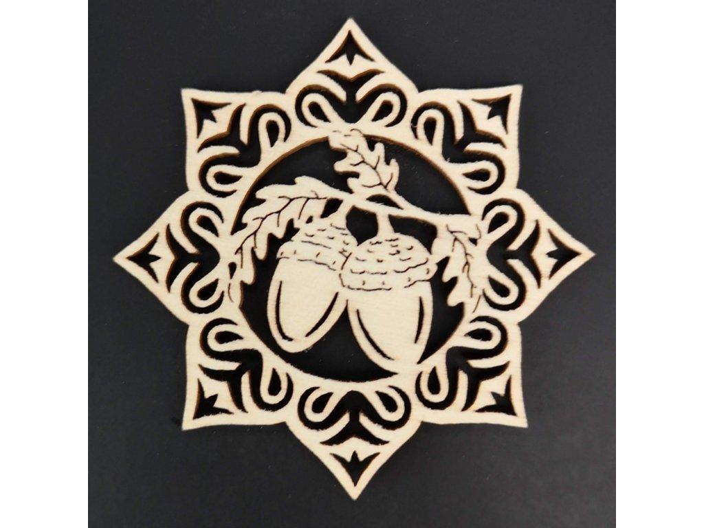 Dřevěná ozdoba hvězda se žaludy 9 cm