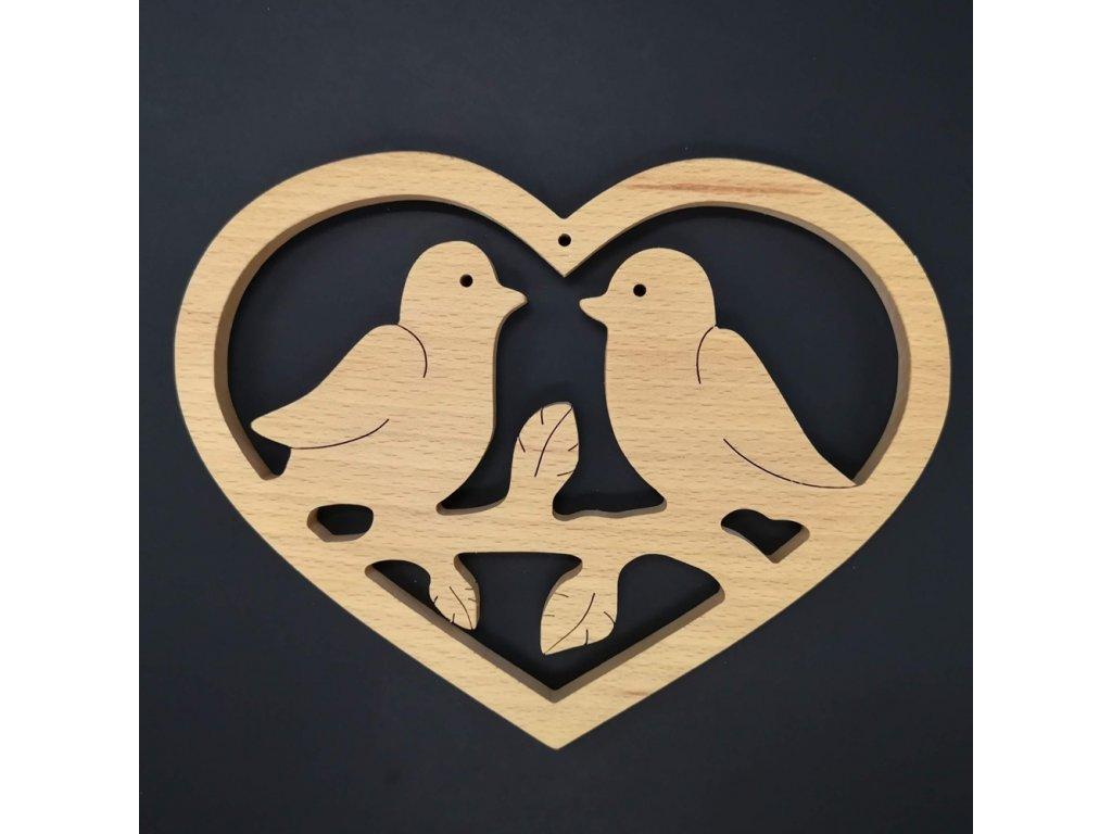 Dřevěné srdce s ptáčky, masivní dřevo, 18x14x1,5 cm