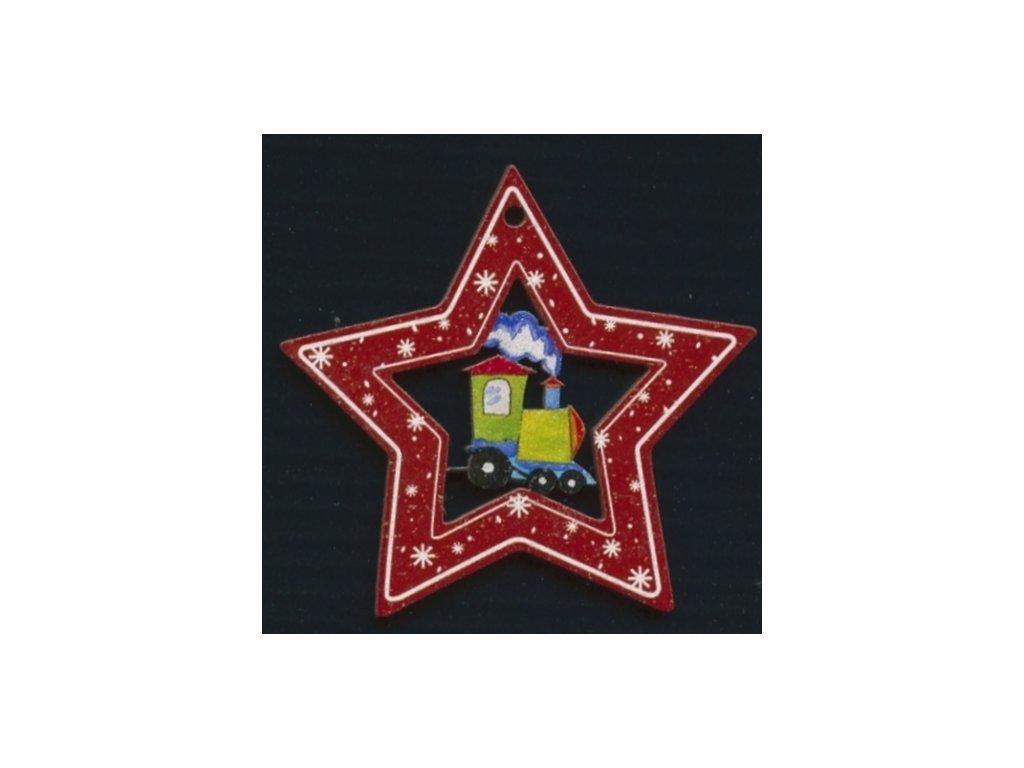 Dřevěná ozdoba barevná hvězda s vláčkem 6 cm