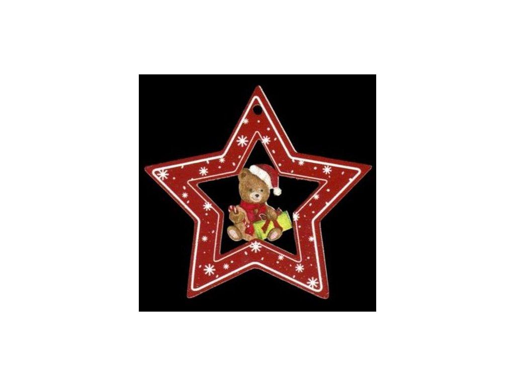 Dřevěná ozdoba barevná hvězda s medvídkem 6 cm