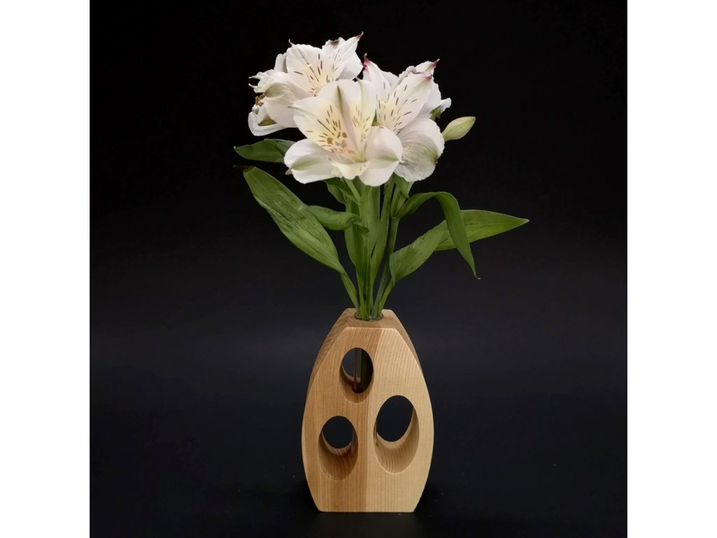 Dřevěná váza oblá s otvory, masivní dřevo, výška 12 cm