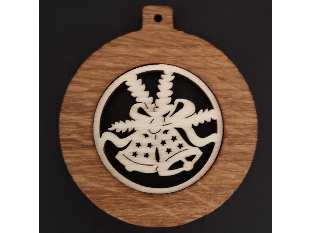 Dřevěná ozdoba z masivu - koule se zvonky 8 cm