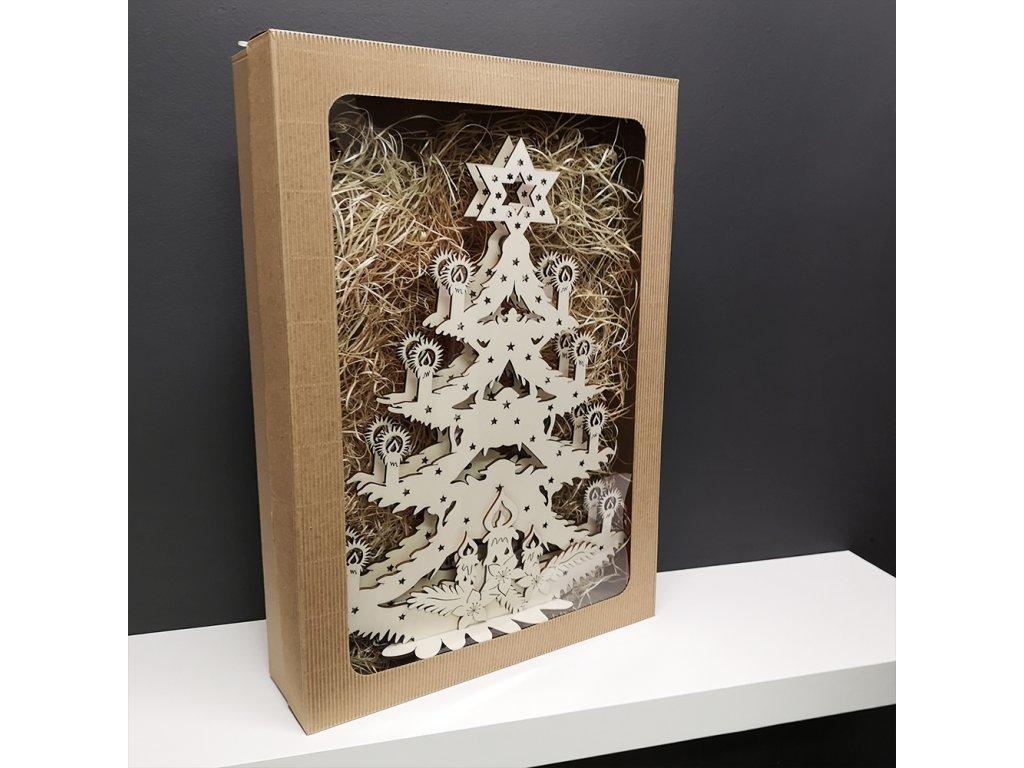 Dřevěný svítící portál ve tvaru stromu, 47x36,5x10 cm