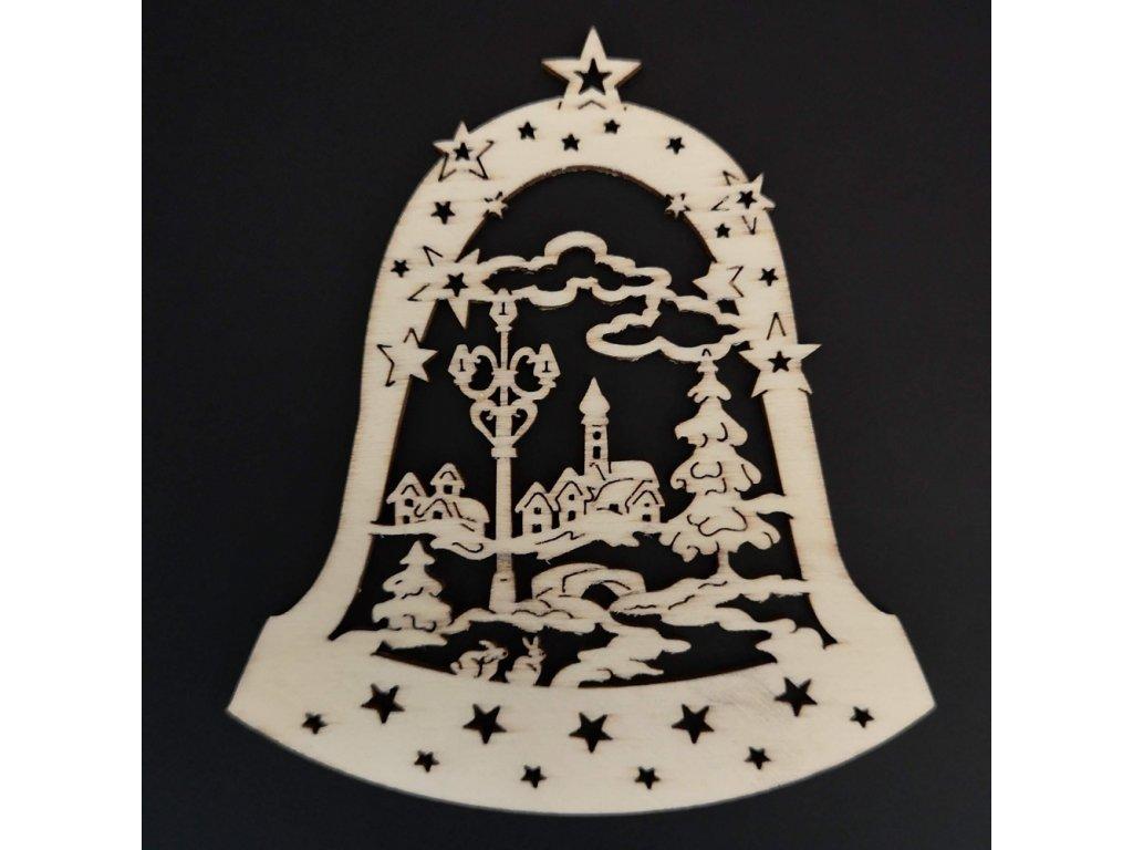 Dřevěná ozdoba zvonek s kostelem 9 cm