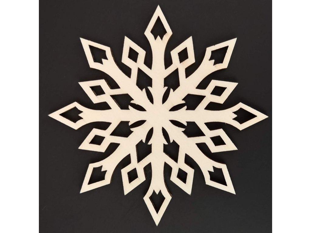 Dřevěná ozdoba hvězda krystal 8 cm