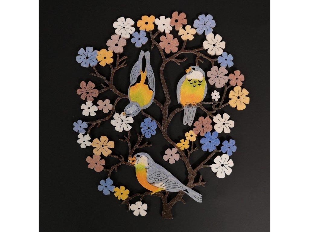 Dřevěná dekorace ptáčci