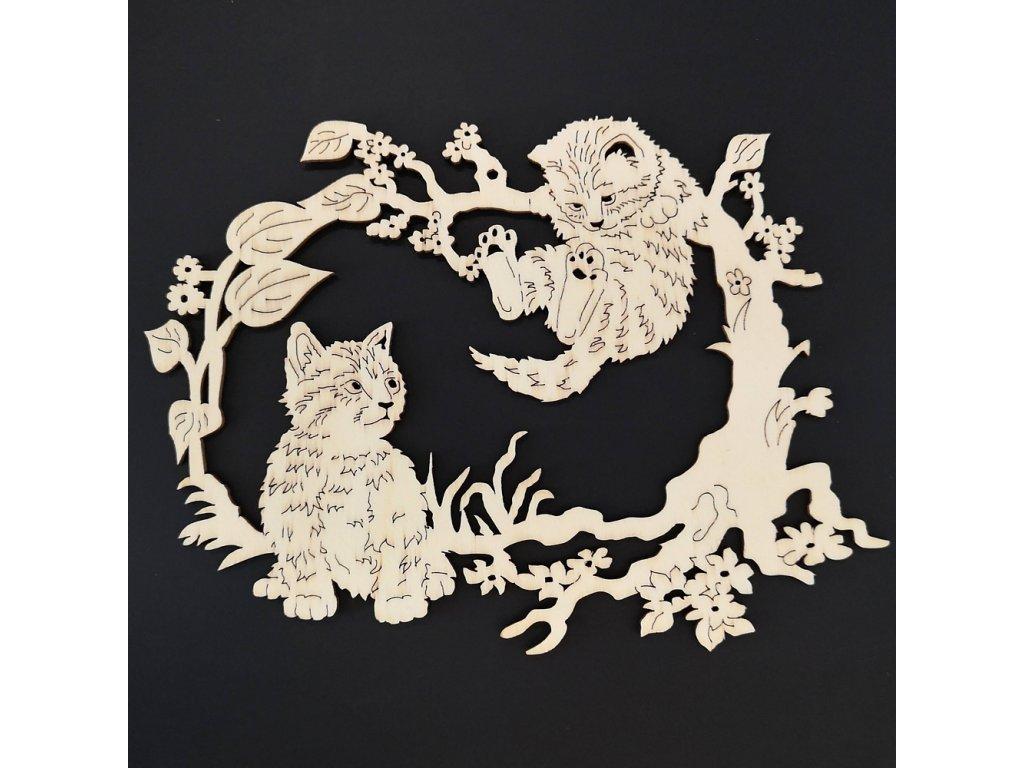 Dřevěná dekorace koťátka 17 cm