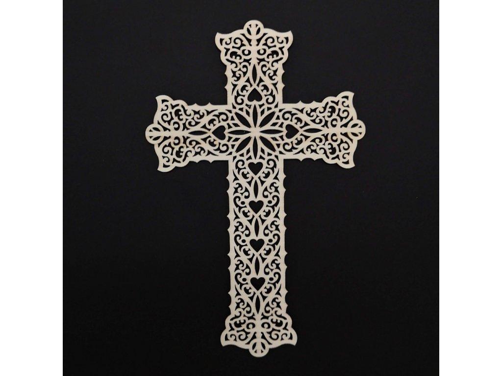 Dřevěný kříž s ornamentem 25 cm