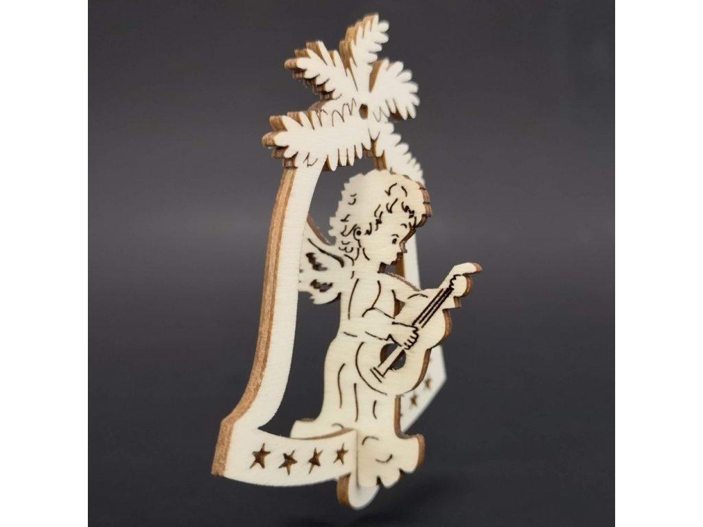Dřevěná ozdoba 3D zvonek - anděl s kytarou 9 cm