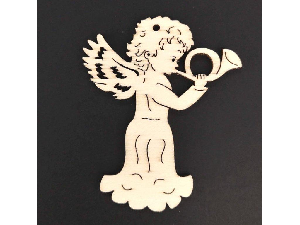 Dřevěná ozdoba anděl s lesním rohem 6 cm
