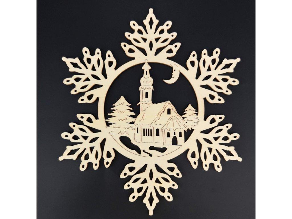 Dřevěná ozdoba vločka s kostelem 20 cm