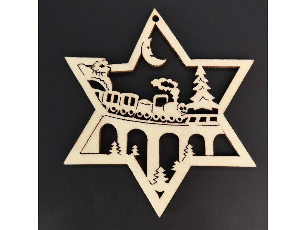 Dřevěná ozdoba hvězda s vláčkem 8 cm