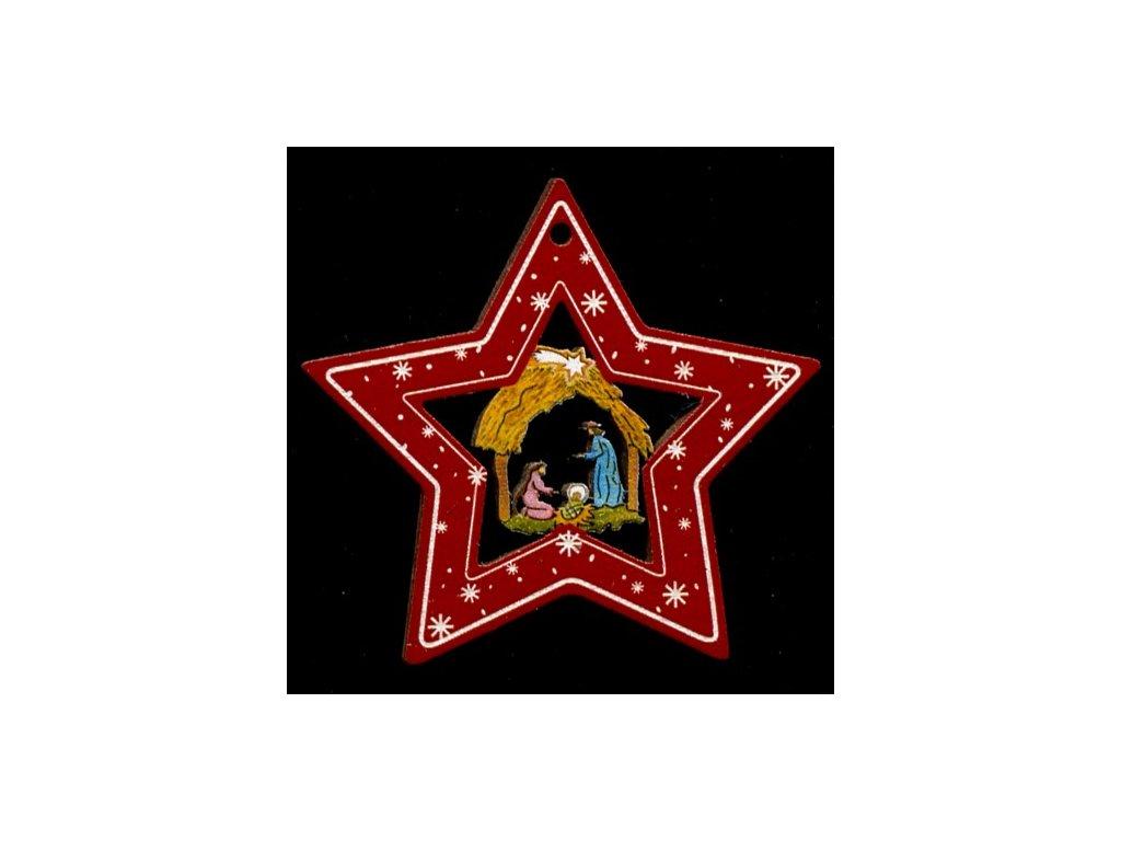 Dřevěná ozdoba barevná hvězda s betlémem 6 cm