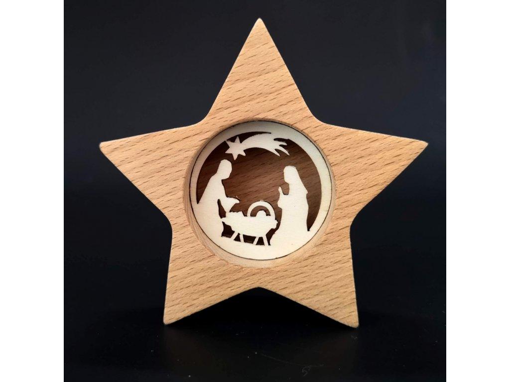 Dřevěná hvězda s vkladem - betlém, masivní dřevo, 10x10x3 cm