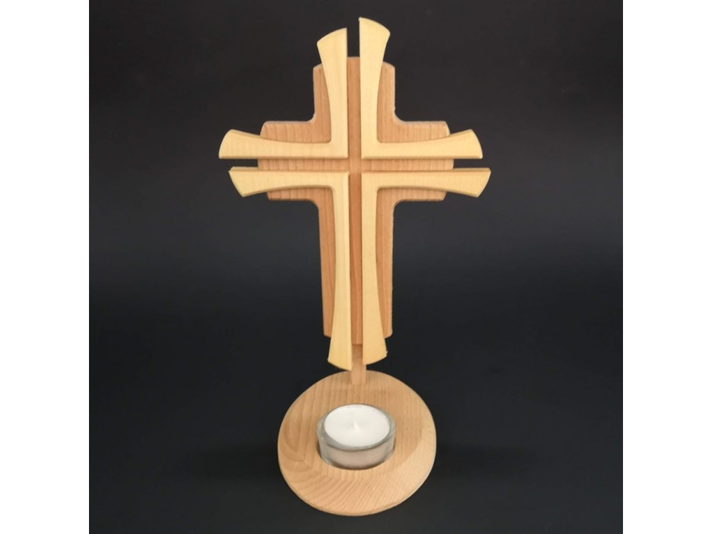 Dřevěný svícen kříž, masivní dřevo, výška 24 cm