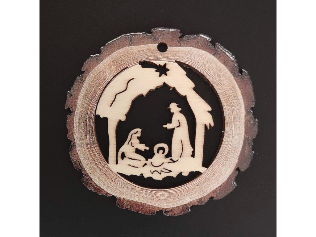 Dřevěná ozdoba s potiskem kůry - koule s betlémem 6 cm