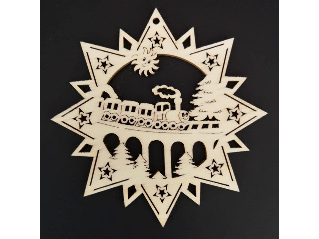 Dřevěná ozdoba hvězda s vláčkem 9 cm