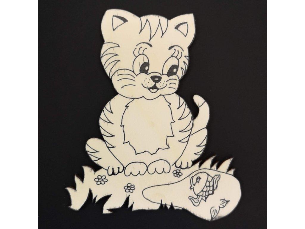 Magnet k domalování kočka 10 cm
