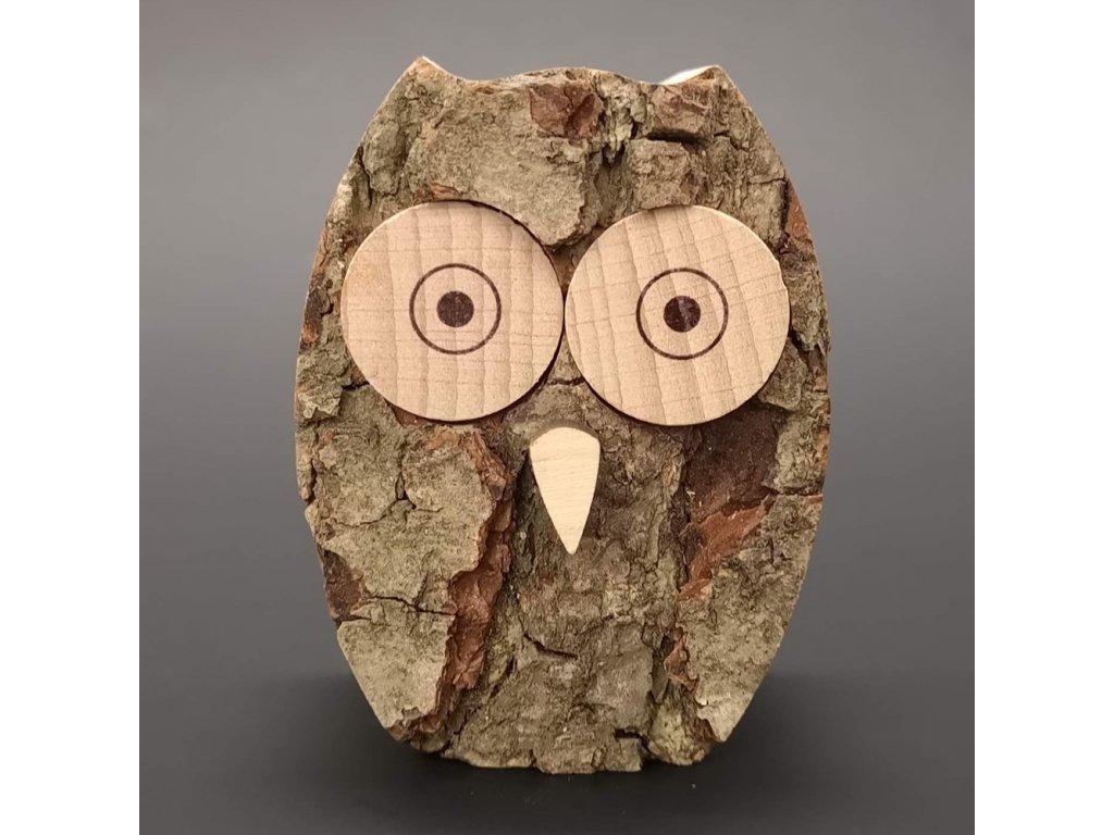 Dřevěná sova s kůrou, masivní dřevo, výška 6 cm