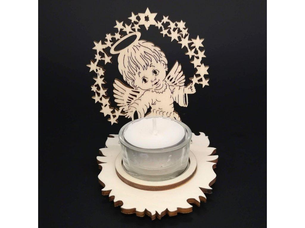 Dřevěný svícen anděl, výška 10 cm