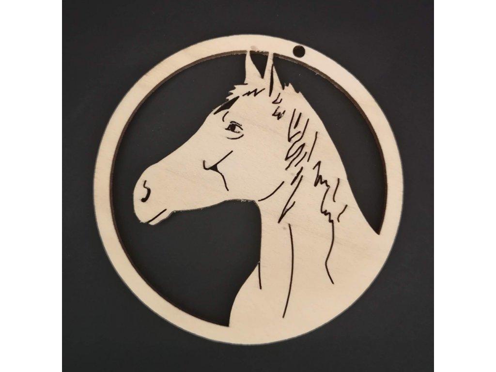 Dřevěná ozdoba kůň v kolečku 9 cm