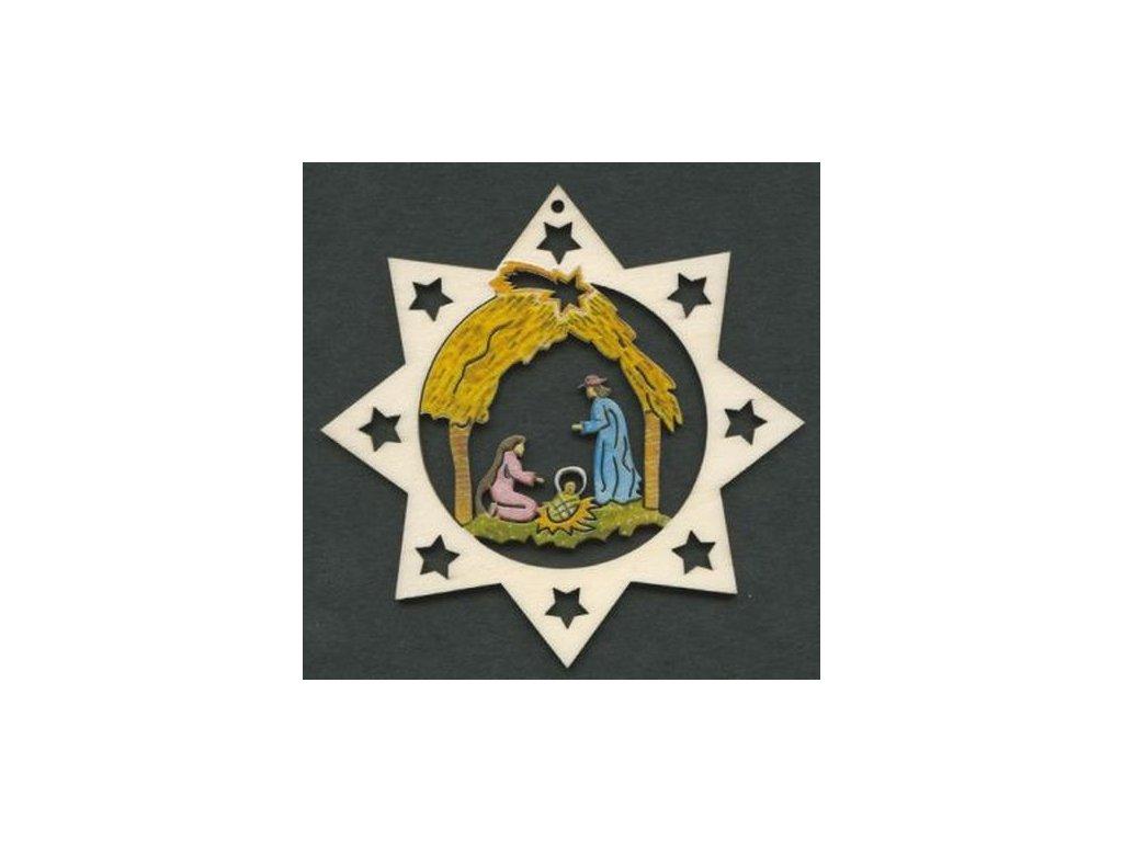 Dřevěná ozdoba hvězda barevná s betlémem 9 cm