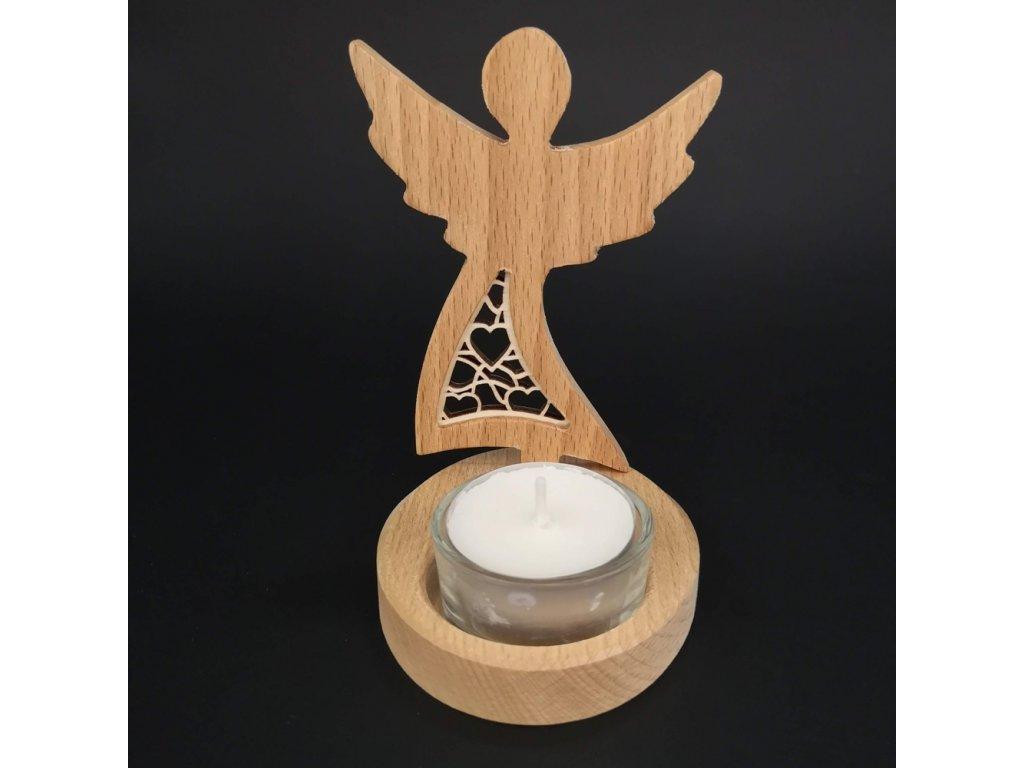 Dřevěný anděl svícen