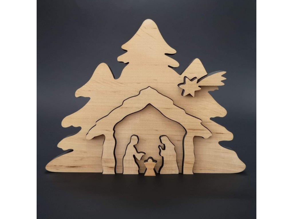 Dřevěný betlém odstupňovaný, masivní dřevo, 19x14x1,1 cm