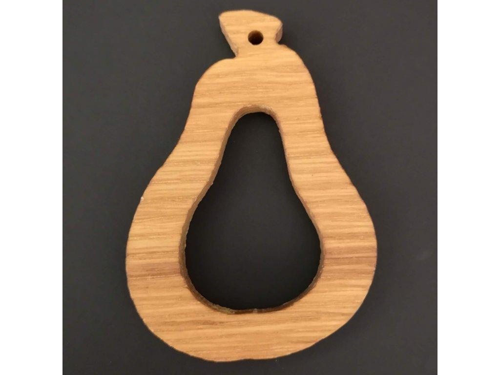 Dřevěná ozdoba z masivu - hruška 6 cm