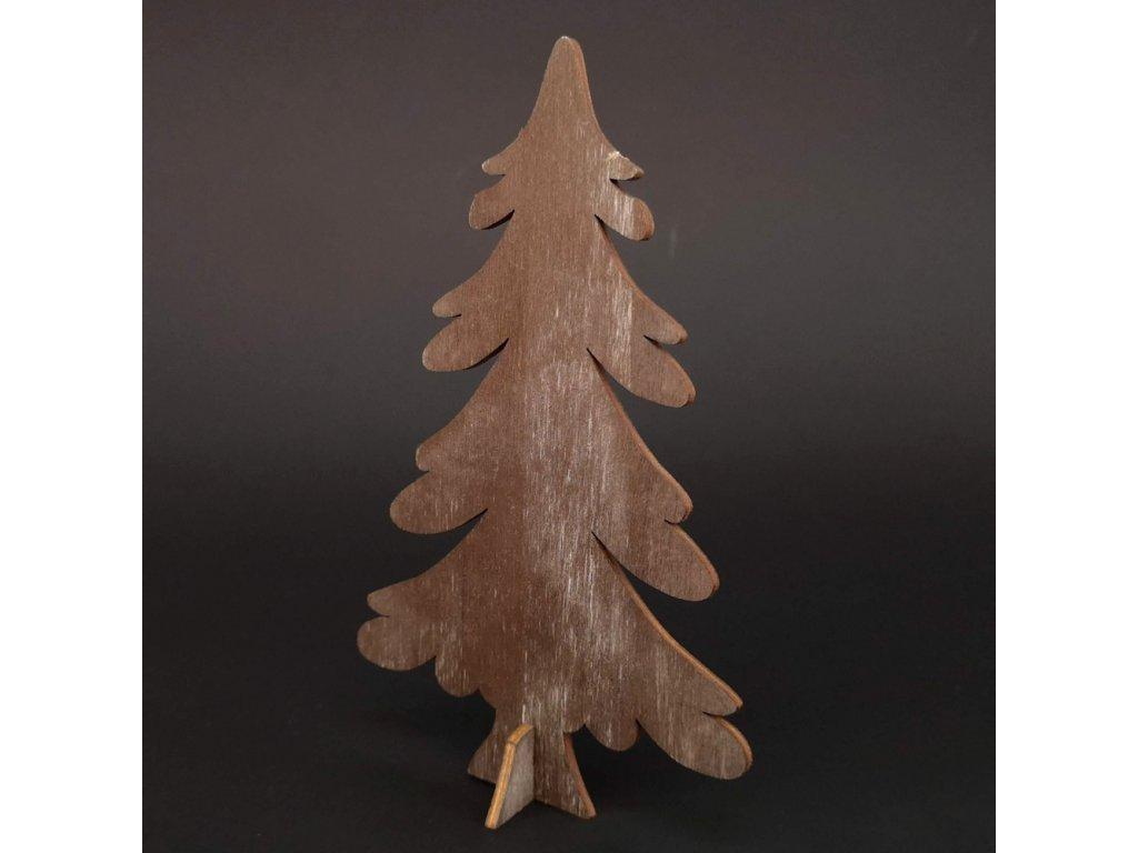 Dřevěný 3D strom šedohnědý, 15 cm