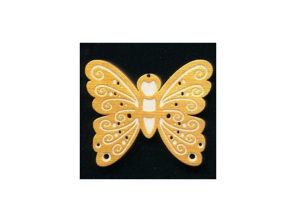 Dřevěná ozdoba s potiskem motýl 6 cm