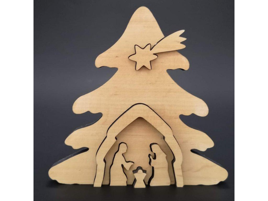 Dřevěný betlém odstupňovaný, masivní dřevo, 14,3x13,8x1,1 cm
