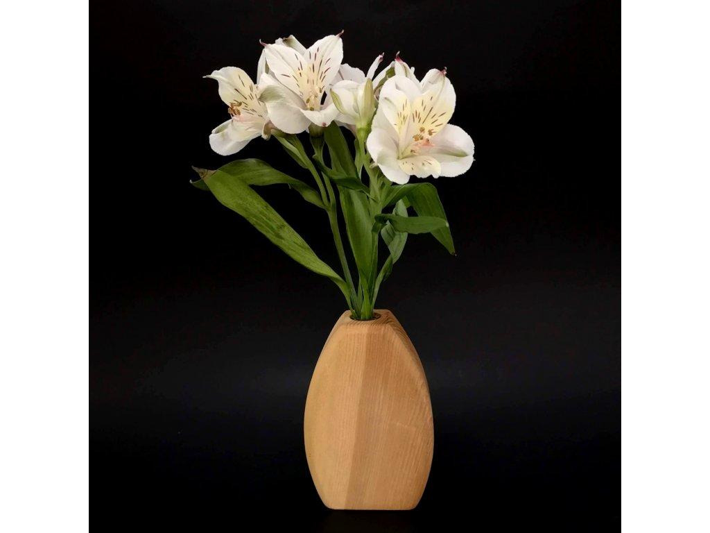Dřevěná váza oblá, masivní dřevo, výška 12 cm
