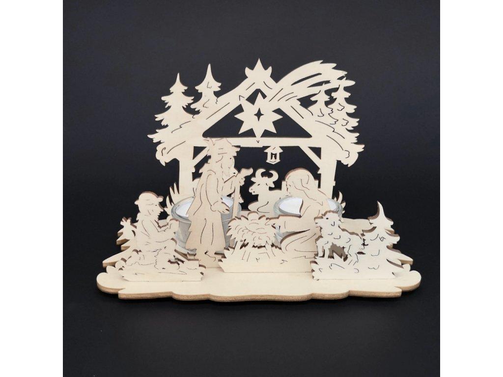Dřevěný svícen betlém, 21x11x12,5 cm