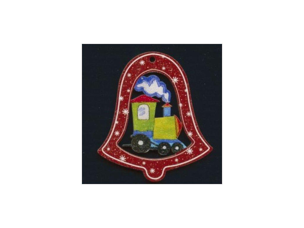 Dřevěná ozdoba barevná zvonek s vláčkem 6 cm