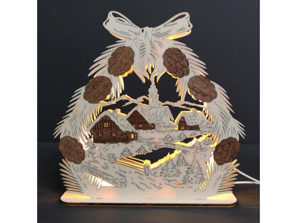 Dřevěný svítící portál se šiškami