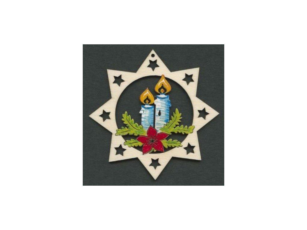 Dřevěná ozdoba barevná hvězda se svíčkami 6 cm