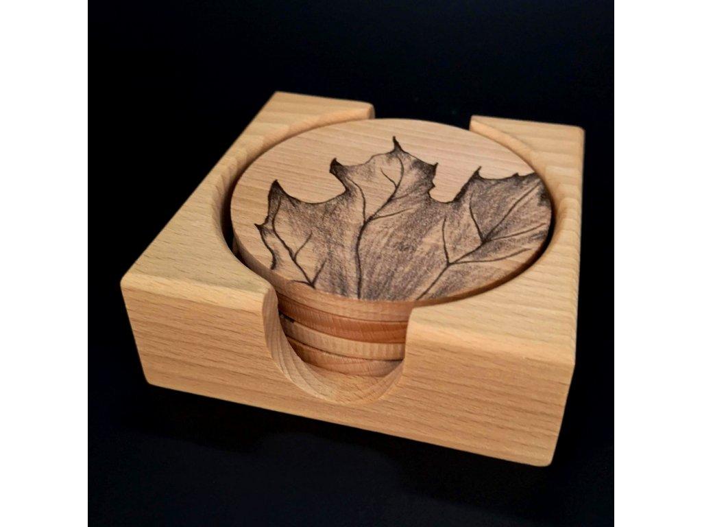 Dřevěný stojánek hranatý se 4 kulatými podtácky s potiskem, masivní dřevo, 12,5x12,5x4,5cm