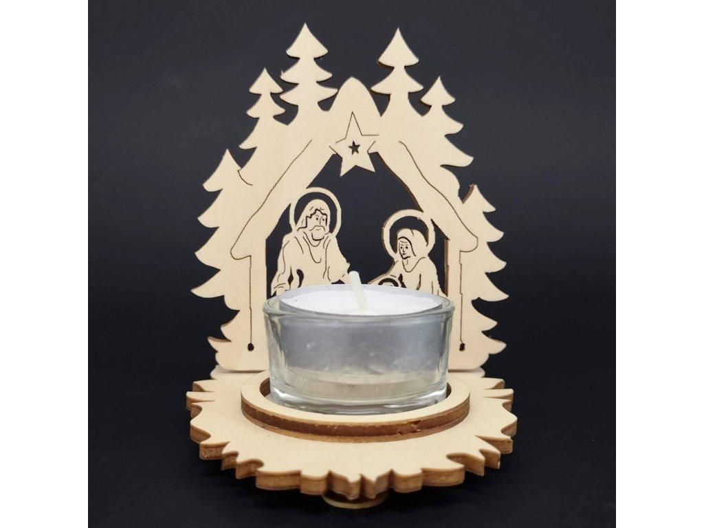 Dřevěný svícen betlém, 10 cm