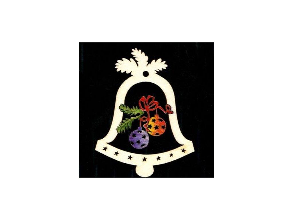 Dřevěná ozdoba barevná zvonek s koulemi 6 cm