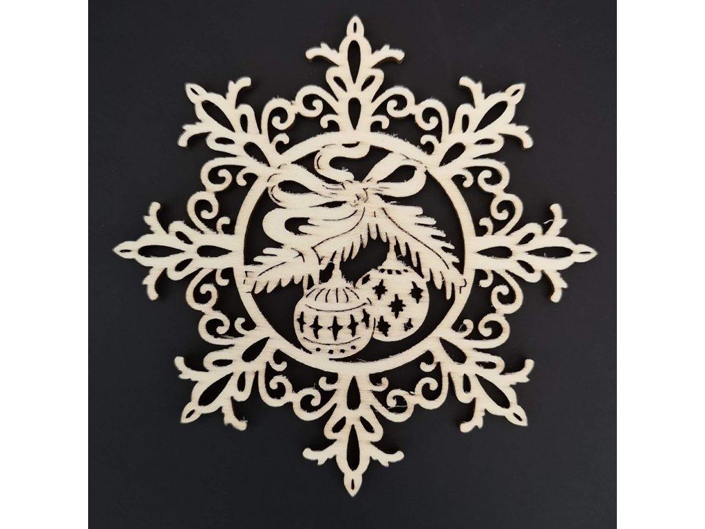 Dřevěná ozdoba vločka s koulemi 6 cm