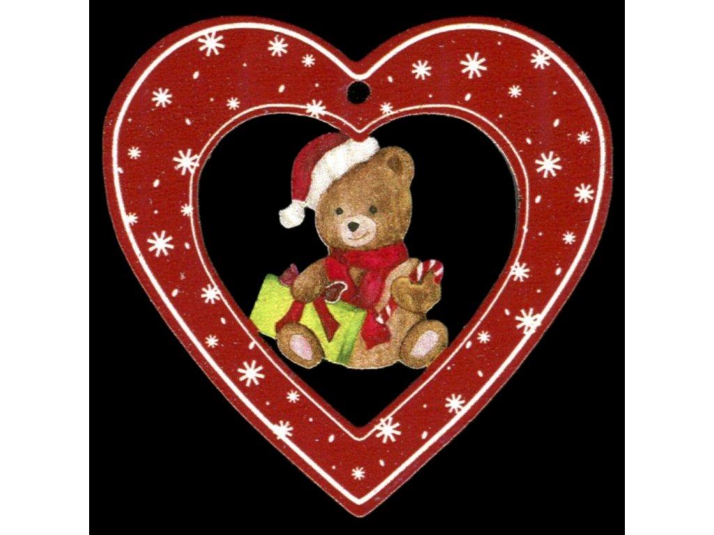 Dřevěná ozdoba barevná srdce s medvídkem 6 cm