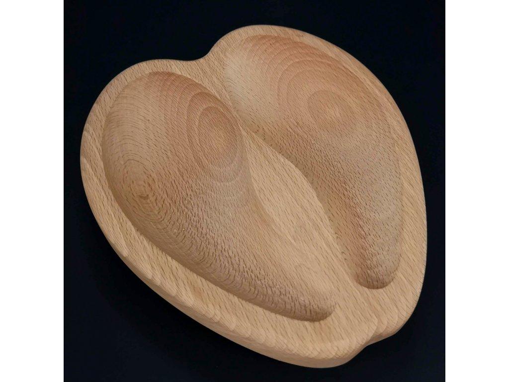 Dřevná miska ve tvaru kopyta, masivní dřevo, 20x18x4,5 cm