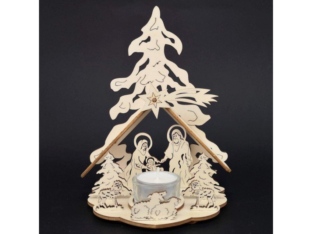 Dřevěný betlém - svícen