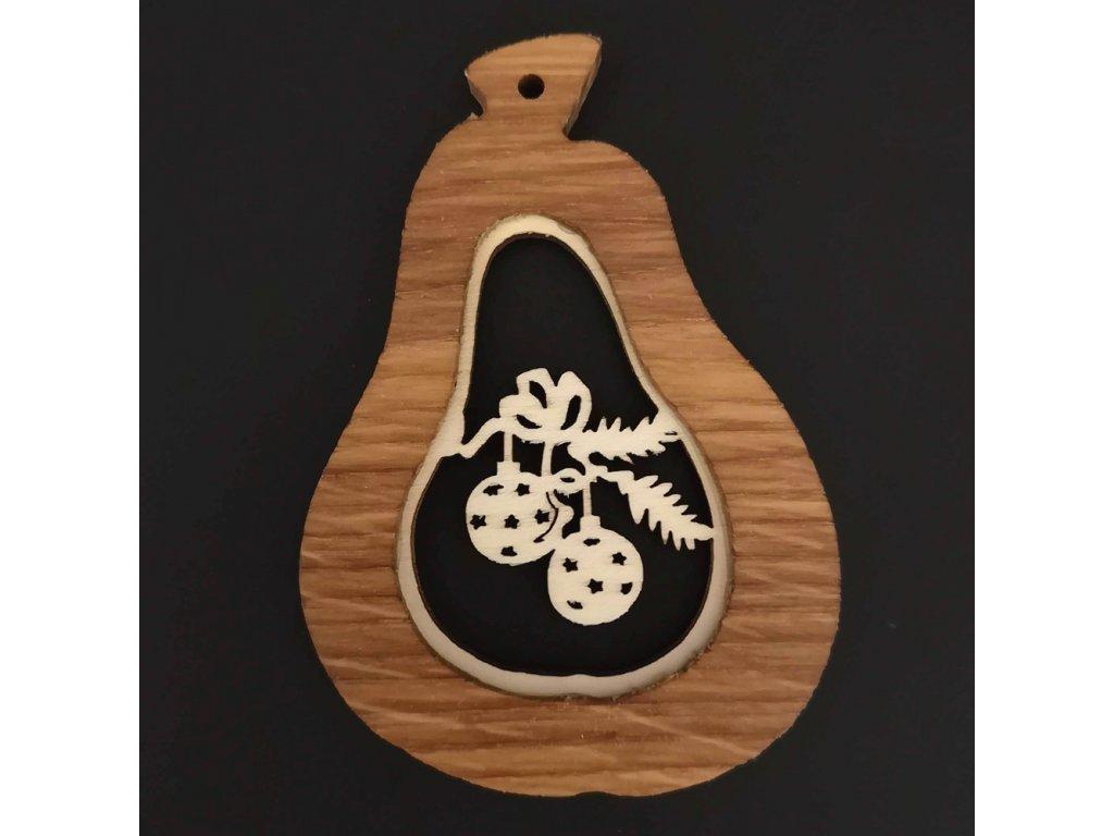 Dřevěná ozdoba z masivu s vkladem - hruška s koulemi 9 cm